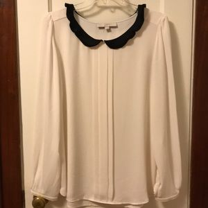 Loft cream & black blouse